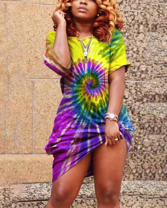 Spiral Tie Dye Pocket Front Mini Dress gallery 1
