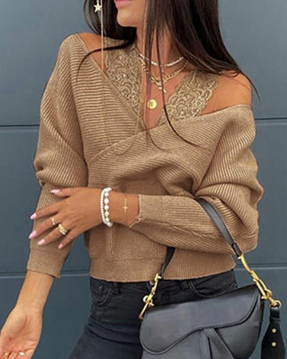 Contrast Lace Cold Shoulder Overlap Rib Knit Sweater gallery 2