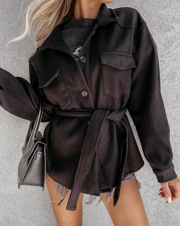 Solid Button Up Flap Pocket Collar Coat gallery 3