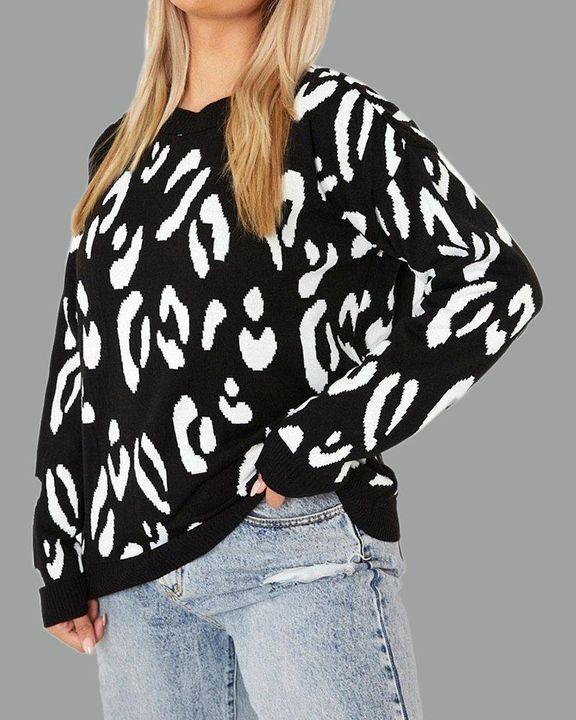 Leopard Print Rib-Knit Round Neck Sweater gallery 2