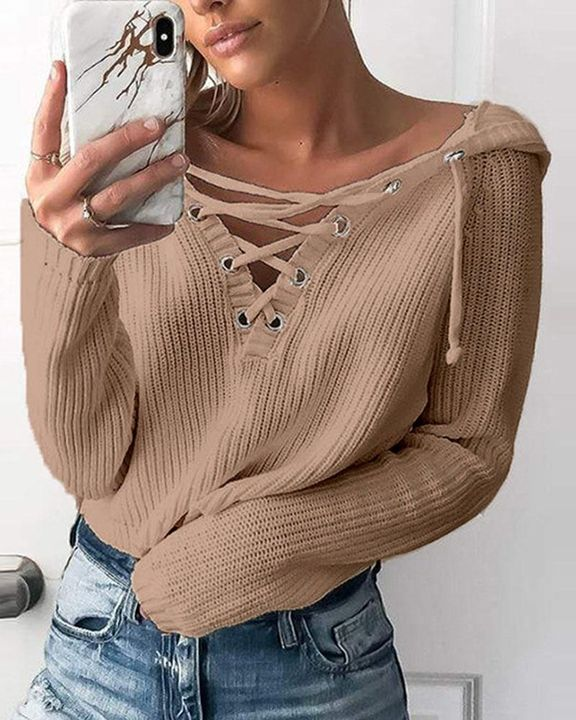 Eyelet Lace Up Ribbed Hooded Sweater gallery 4