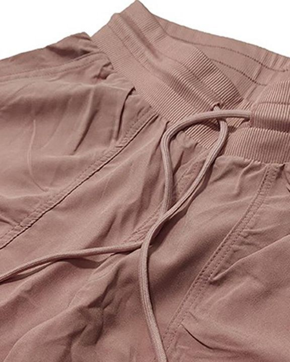 Quick Dry Drawstring Waist Ruched Front Sports Pants gallery 14