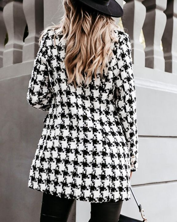 Houndstooth Double Breasted Lapel Neck Coat gallery 6