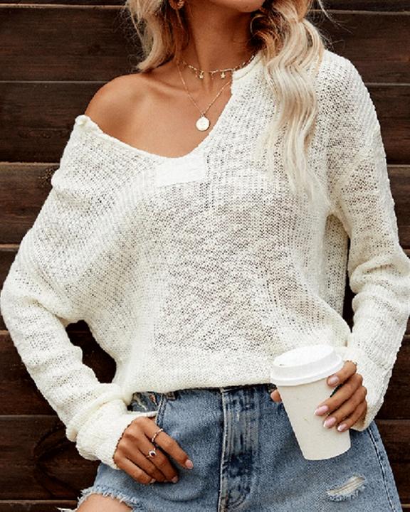 Chunky Knit V Neck Long Sleeve Sweater gallery 1