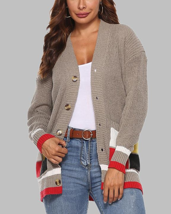 Colorblock Open Front Pocket Detail Button Trim Cardigan gallery 6