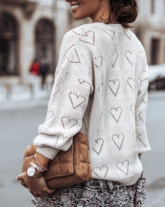 Heart Pattern Hollow Out Rib-Knit Sweater gallery 7