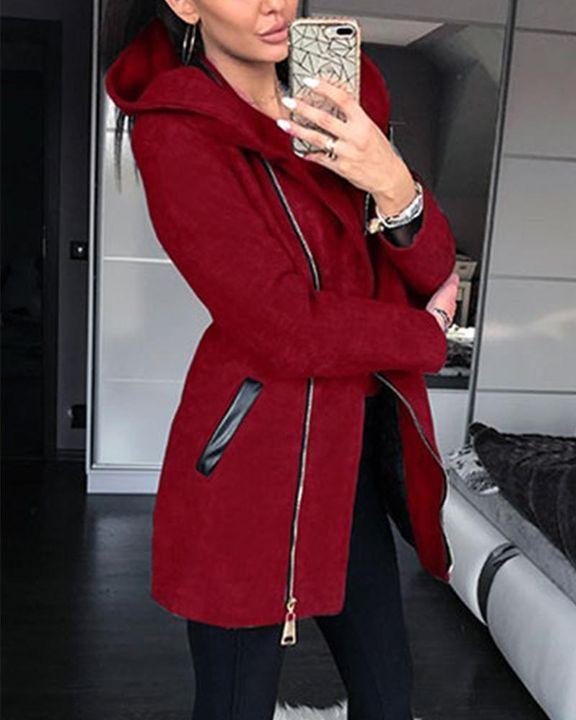 Zip Up Front Pocket Detail Hooded Coat gallery 1