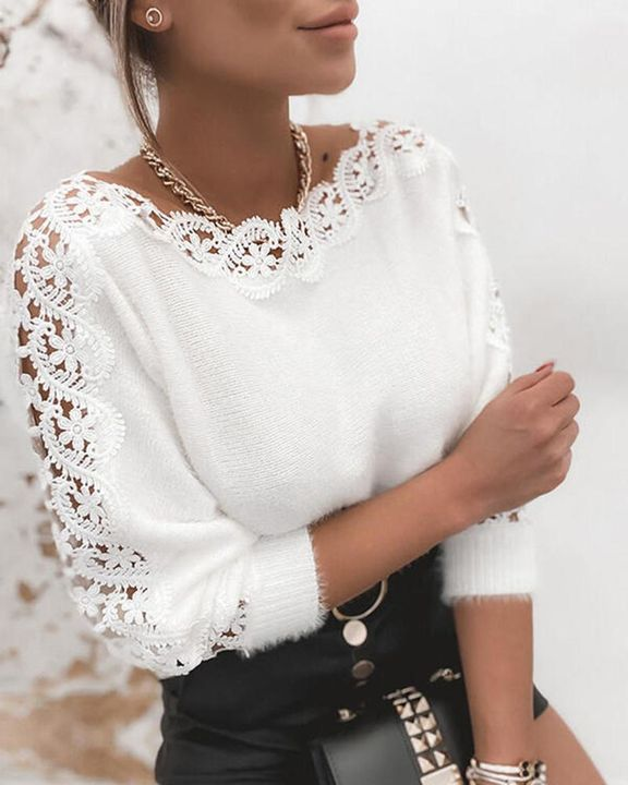 Floral Lace Raglan Sleeve Fuzzy Knit Sweater gallery 1