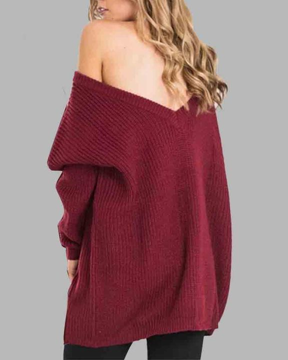 Chunky Knit Cutout Back Drop Shoulder Sweater gallery 3