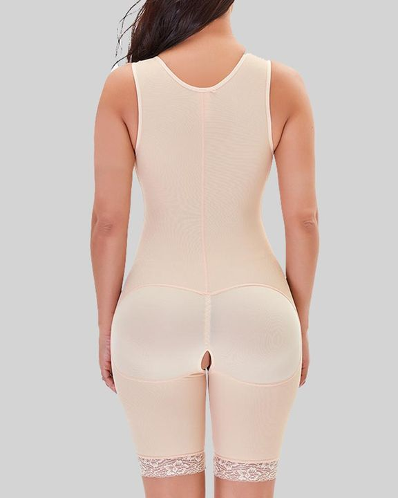 Hook And Eye Zipper Detail Floral Lace Crotchless Shapewear Romper gallery 4