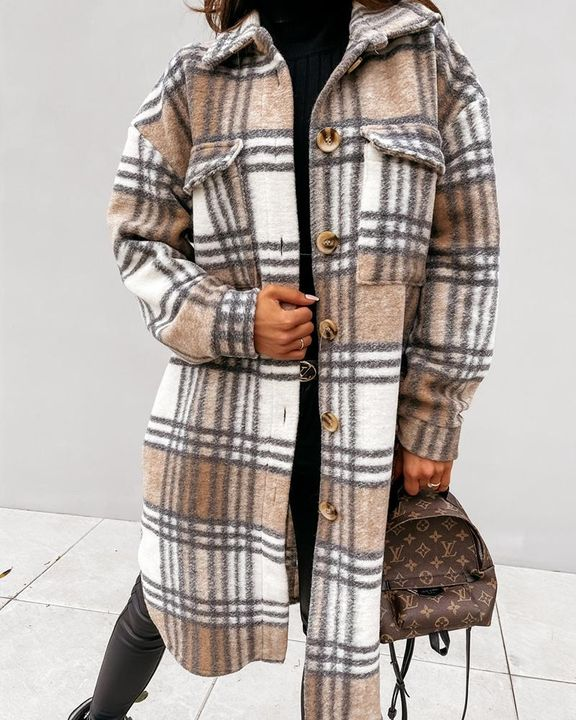 Plaid Print Patch Pocket Button Up Teddy Coat gallery 1