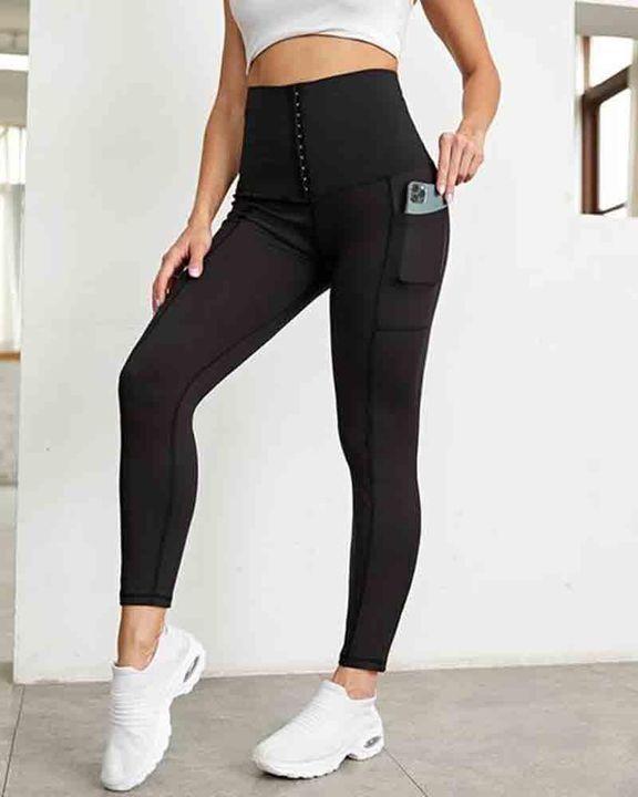 Pocket Side Hook Tie Front Sports Leggings gallery 2