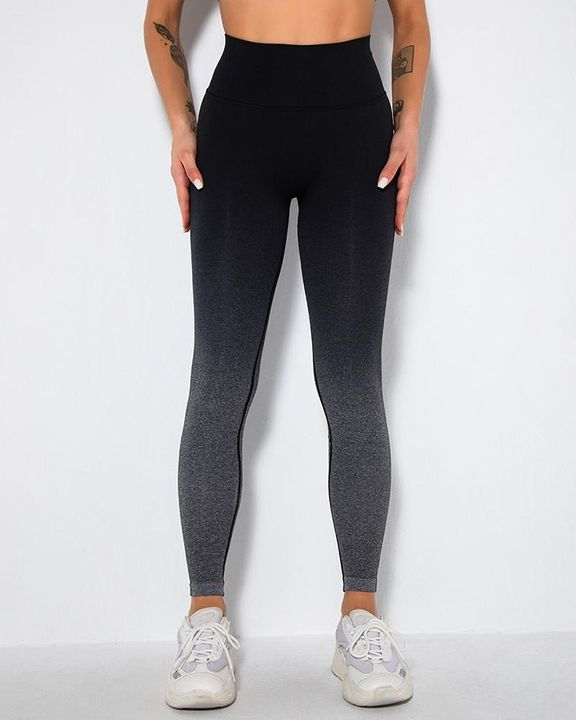 Ombre Space Dye Seamless Butt Lifting Sports Leggings gallery 5