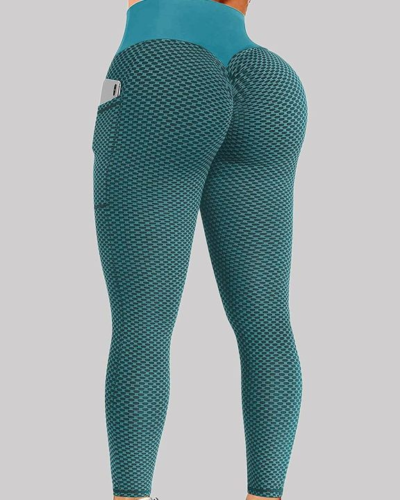 Solid Textured Pocket Detail Elastic Waist Sports Leggings gallery 2