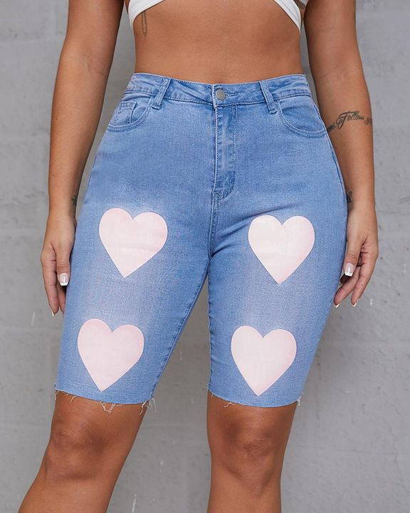 Heart Pattern Bermuda Denim Shorts gallery 3