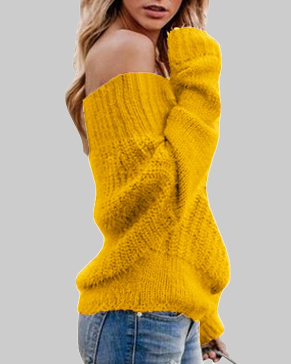 Chunky Knit Off Shoulder Sweater gallery 4