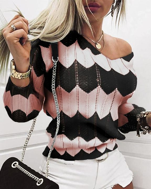 Chevron Print Hollow Out V Neck Sweater gallery 1