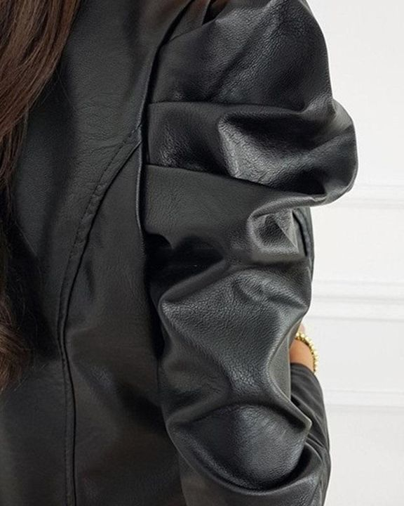 Zip Up Ruched Leg-of-mutton Sleeve PU Jacket gallery 4