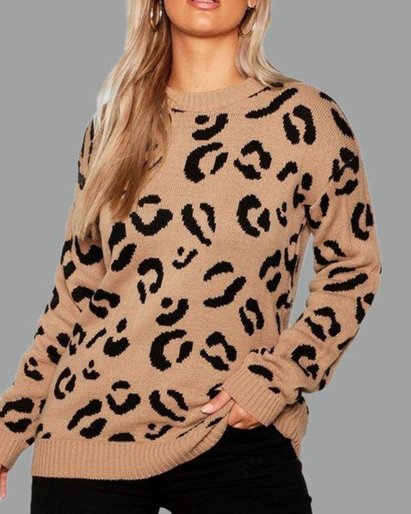 Leopard Print Rib-Knit Round Neck Sweater gallery 1
