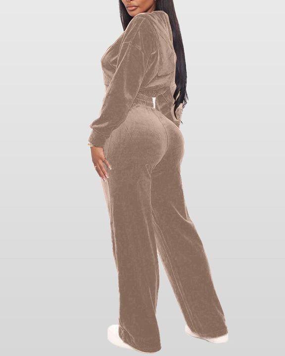 Solid Hooded Zipper Crop Top & Pants Set gallery 12