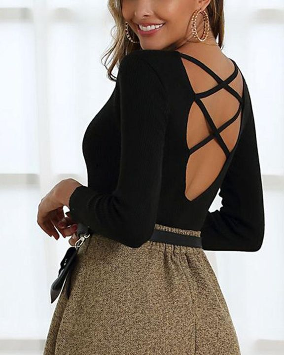 Ribbed Knit Criss Cross Back Bodycon Sweater gallery 8