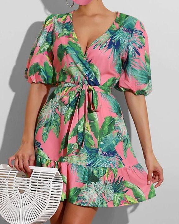 Tropical Print Ruffle Hem Belted Surplice Neck Mini Dress gallery 3