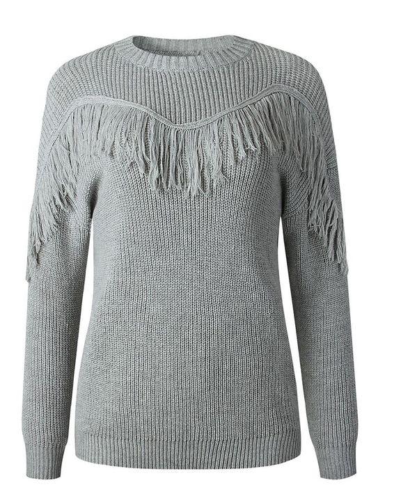 Solid Fringe Trim Drop Shoulder Sweater gallery 7