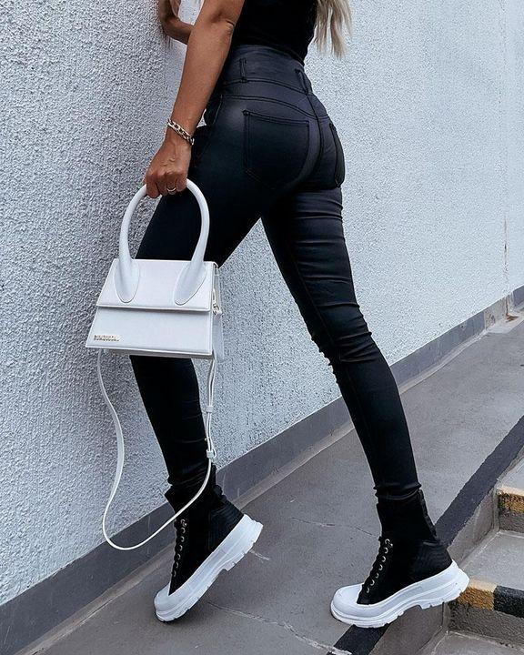 Zipper Front Studded Button High Waist PU Pants gallery 5