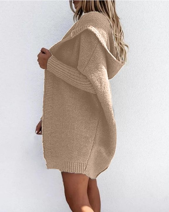 Solid Open Front Hooded Cardigan gallery 10