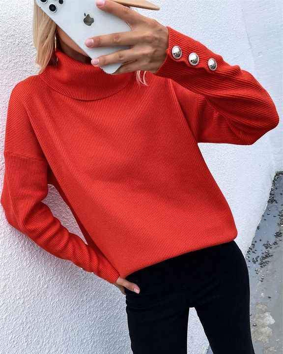 Rib Knit Turtleneck Button Trim Drop Shoulder Sweater gallery 3