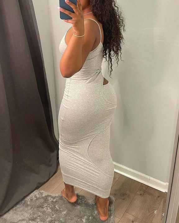 Solid Hollow Out Surplice Neck Cami Dress gallery 8