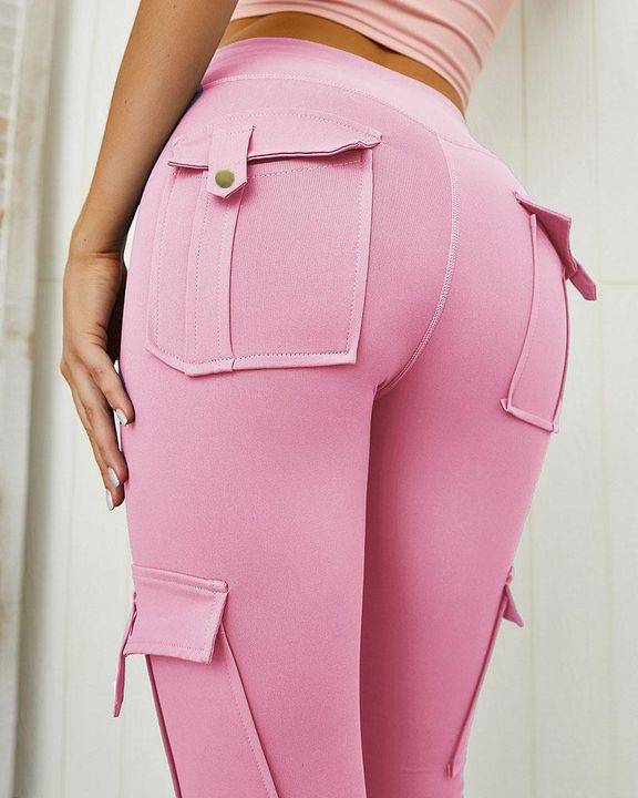 Flap Pocket Butt Lifting Top Stitching Sports Leggings gallery 3