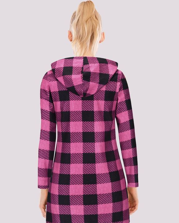 Gingham Button Through Pocket Front Hooded Coat gallery 4