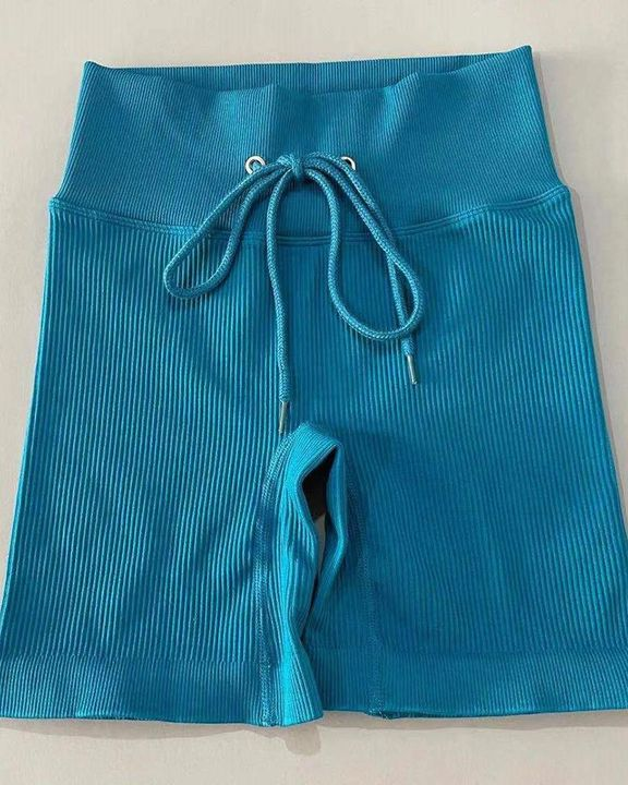 Solid High Waist Drawstring Front Sports Shorts gallery 5