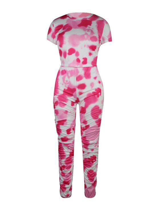 Tie Dye Slant Pocket Top & Stacked Pants Set gallery 6