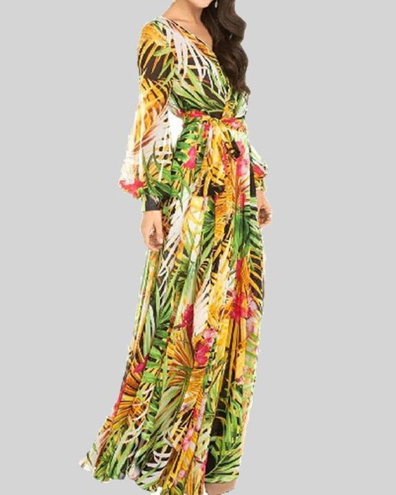 Tropical Print Belted Pleated Surplice Neck Maxi Dress gallery 8