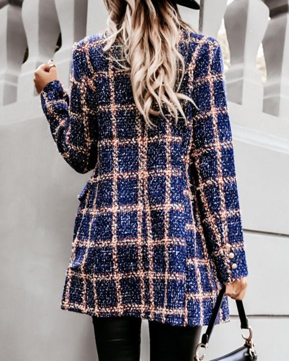 Plaid Double Breasted Lapel Neck Coat gallery 6