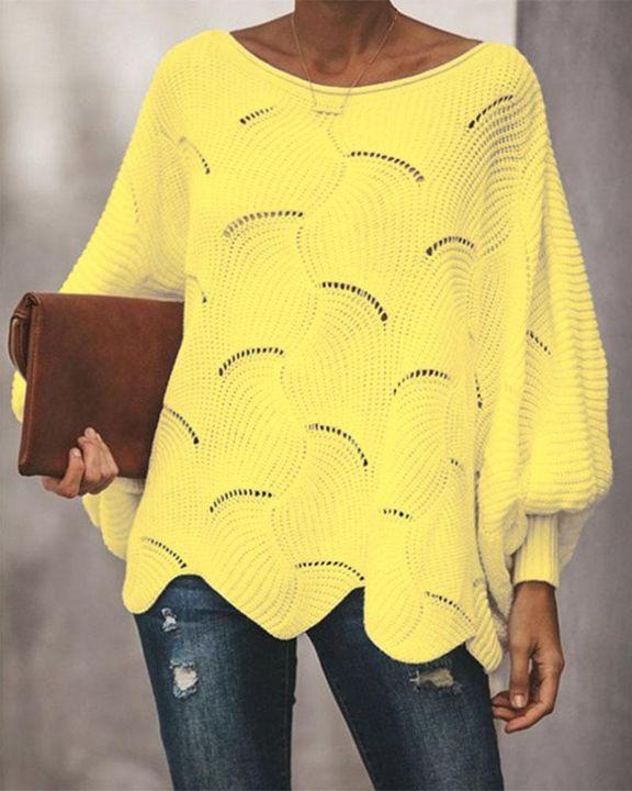 Open Knit Lantern Sleeve Scallop Hem Oversized Sweater gallery 3
