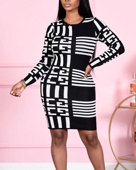 Allover Print Round Neck Long Sleeve Midi Dress gallery 1