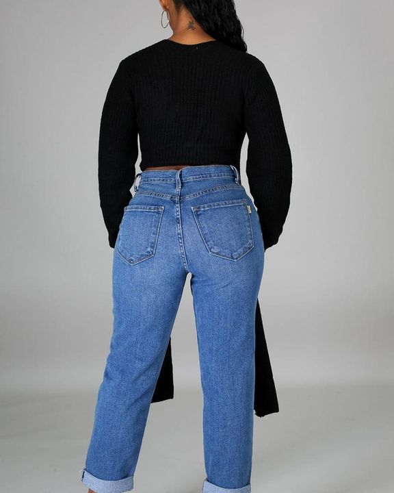 Chunky Knit Split Hem V Neck Sweater gallery 11