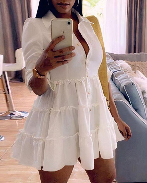 Solid Button Detail Ruffle Hem Mini Dress gallery 1