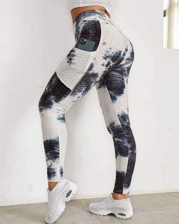 Tie Dye Textured Pocket Side Sports Leggings gallery 1