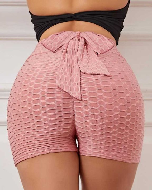 Bow Tie Textured Butt Lifting Sports Shorts gallery 10