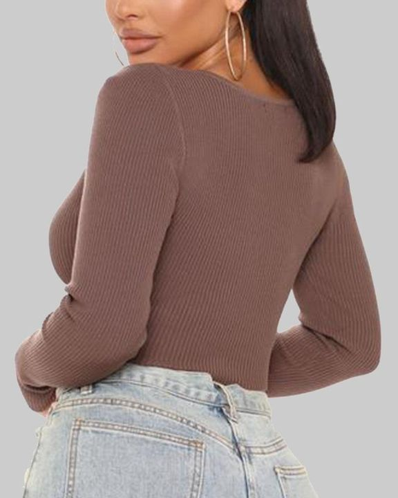 Ribbed Knit Button Decor Crop Sweater gallery 8