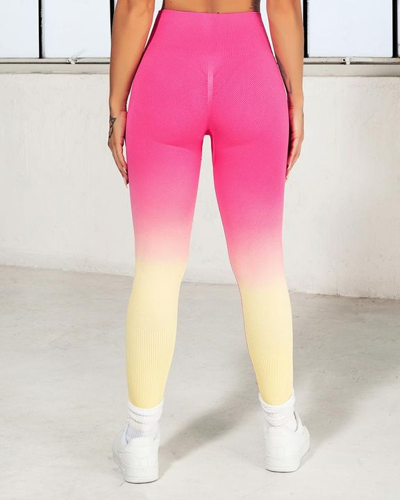 Ombre Wide Waistband Butt Lifting Sports Leggings gallery 9