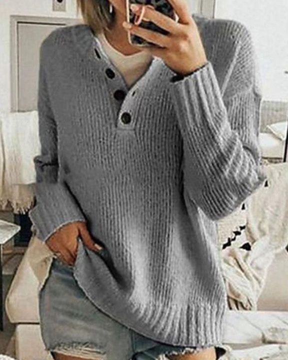 Solid Rib-Knit Button Front Drop Shoulder Sweater gallery 4