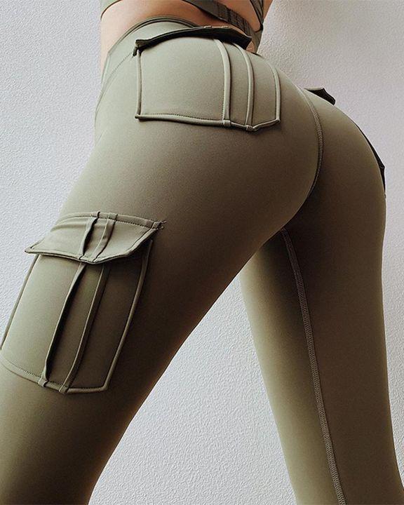 Flap Pocket Butt Lifting Wide Waist Band Sports Leggings gallery 1
