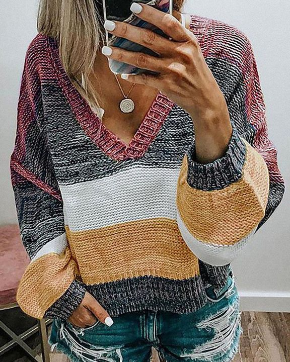 Colorblock Mixed Knit Drop Bishop Sleeve Sweater gallery 1