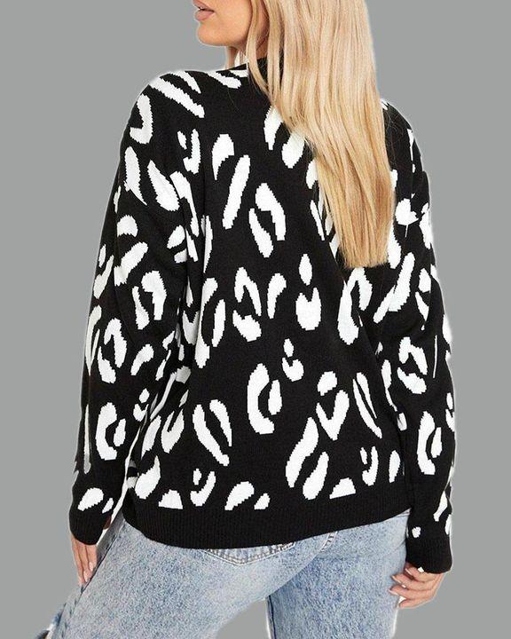 Leopard Print Rib-Knit Round Neck Sweater gallery 9