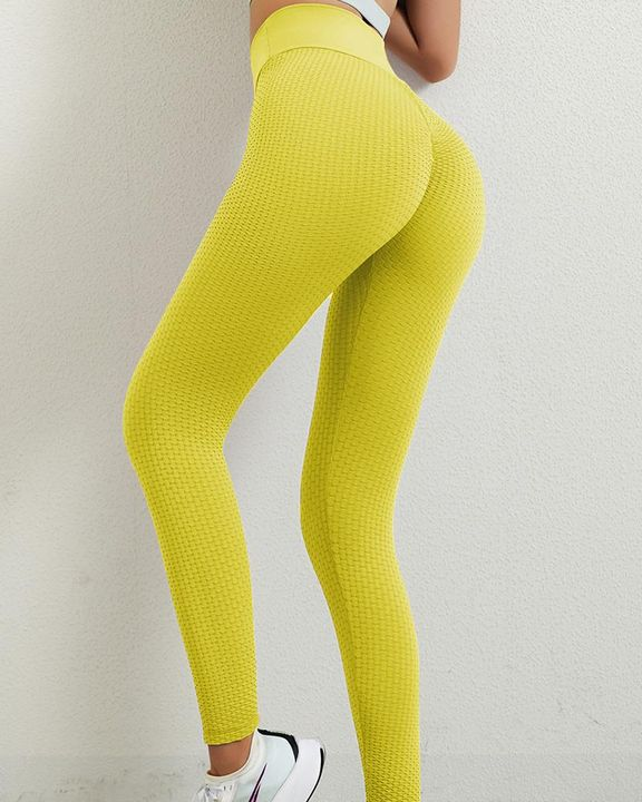 Solid Textured Butt Lifting Leggings gallery 11